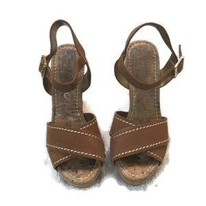 SAM EDELMAN Tan Suede Wood/cork wedge sandals